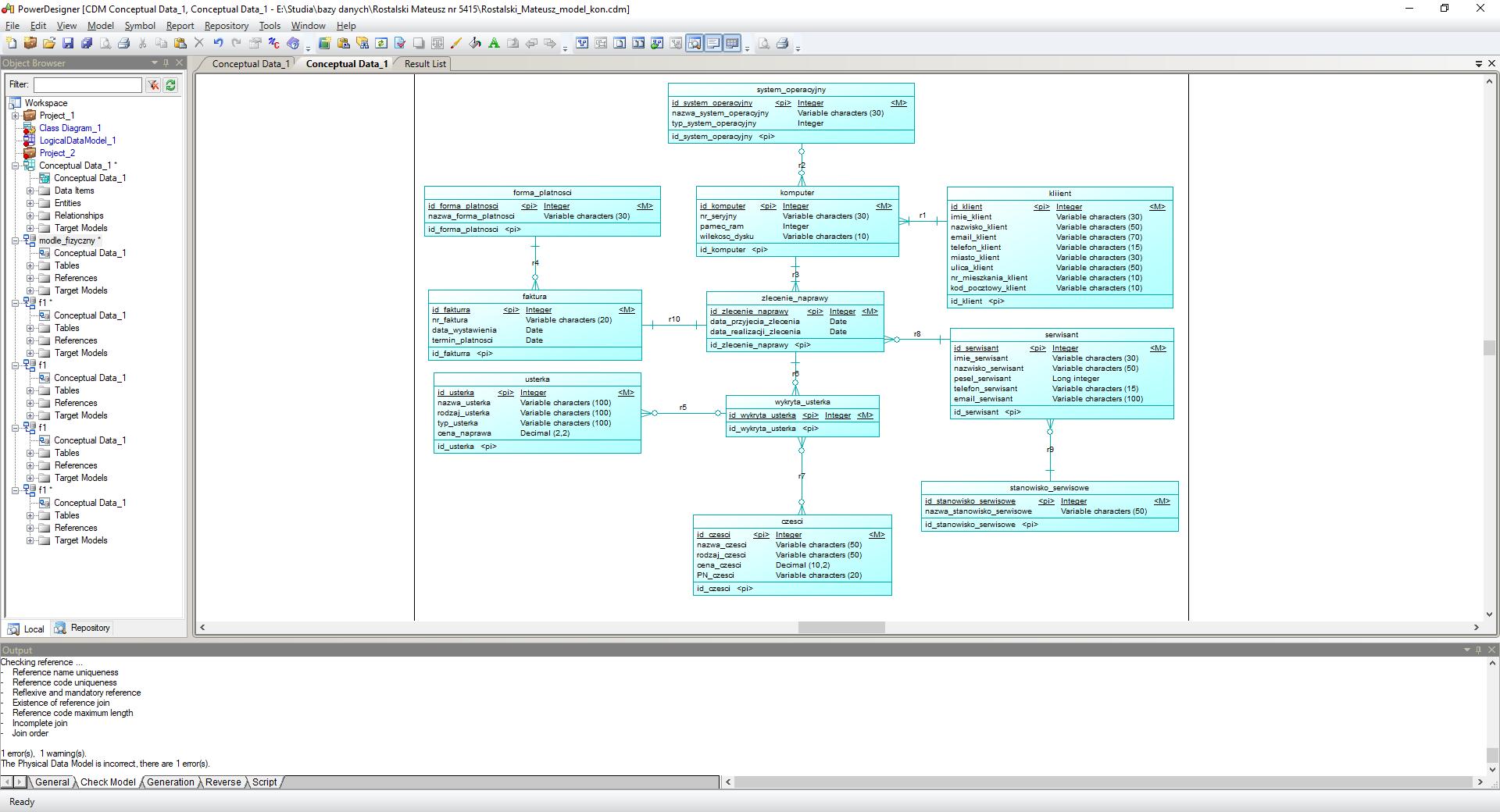 W Ultra PowerDesigner-Tworzenie bazy danych- błąd przy generowaniu DB FB22